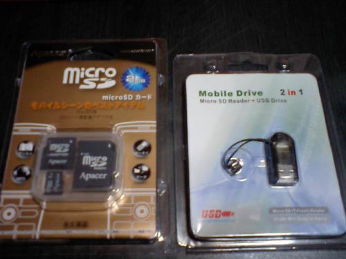 2GBマイクロSD+マイクロSD⇔USBアダプタ