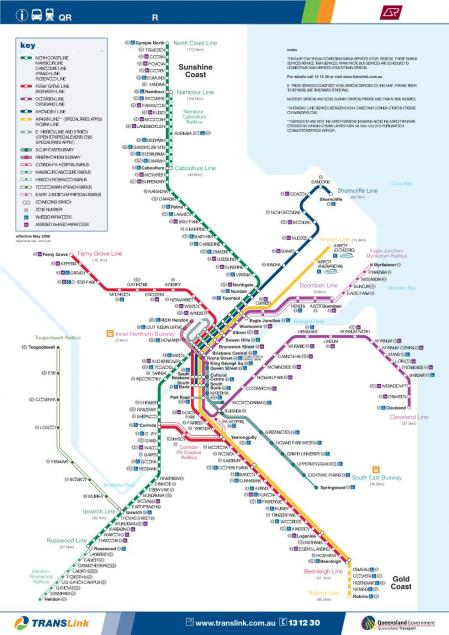 クイーンズランド鉄道 - 東南クイーンズランド路線図