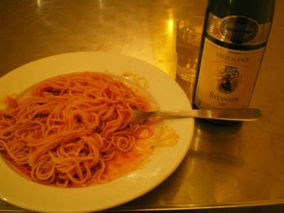 アルザスワインとパスタ