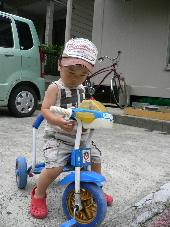 三輪車借りたの!