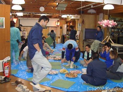 20050507 お花見1(食堂にて)