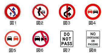 世界の追越禁止標識