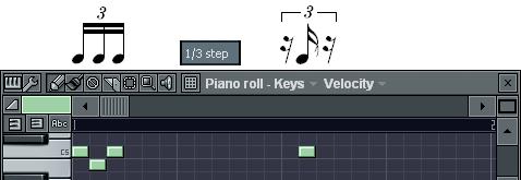 3連16分音符の入力