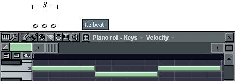 3連2分音符の入力