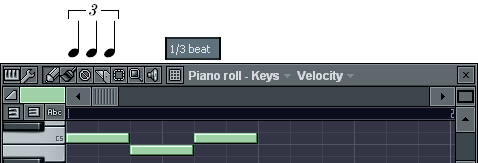 3連4分音符の入力