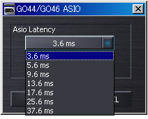 GO44 ASIO設定画面 バッファサイズ切り替え