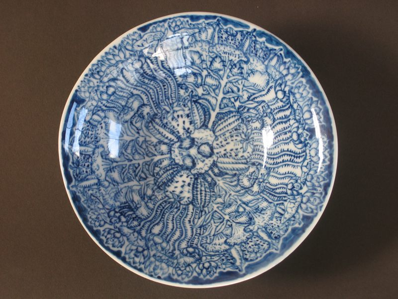 銀窯染め付け磁器皿