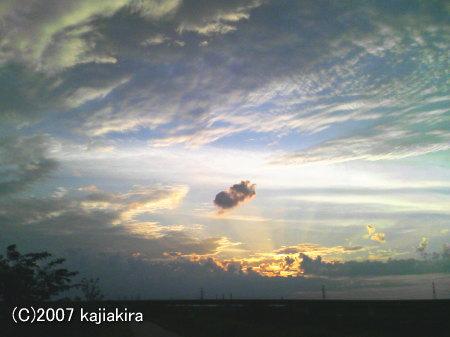 新発田市加治川堤防からの夕日