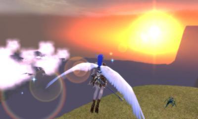 風砂の峰に沈む夕日