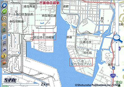 水島コンビナートの地図