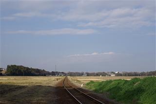 続く線路と空