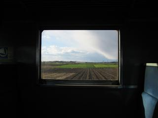 ボックスシートの車窓