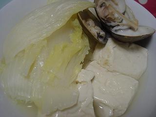 白菜、豆腐蒸し