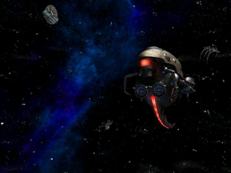 まるでSWに出てきそうな顔型の宇宙船が現れた!