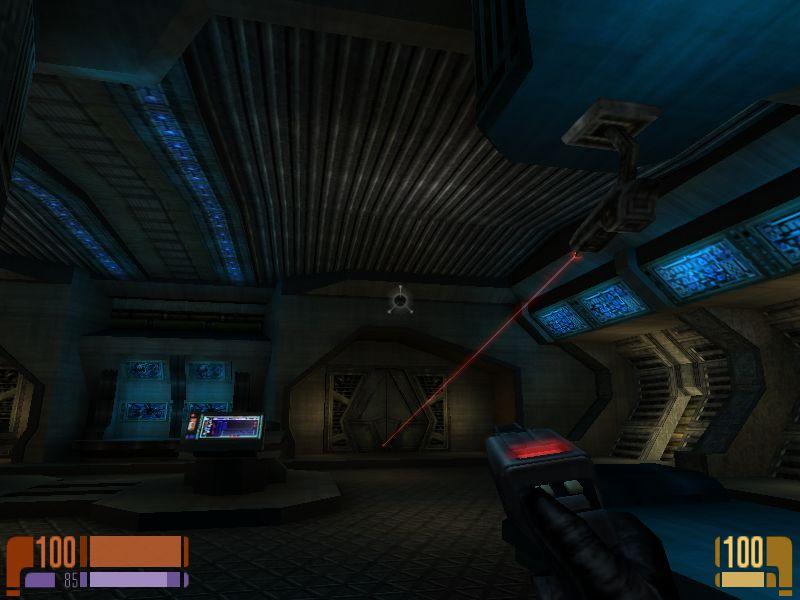 仕掛けられたレーザー砲。オブジェクトを破壊できるぞ。