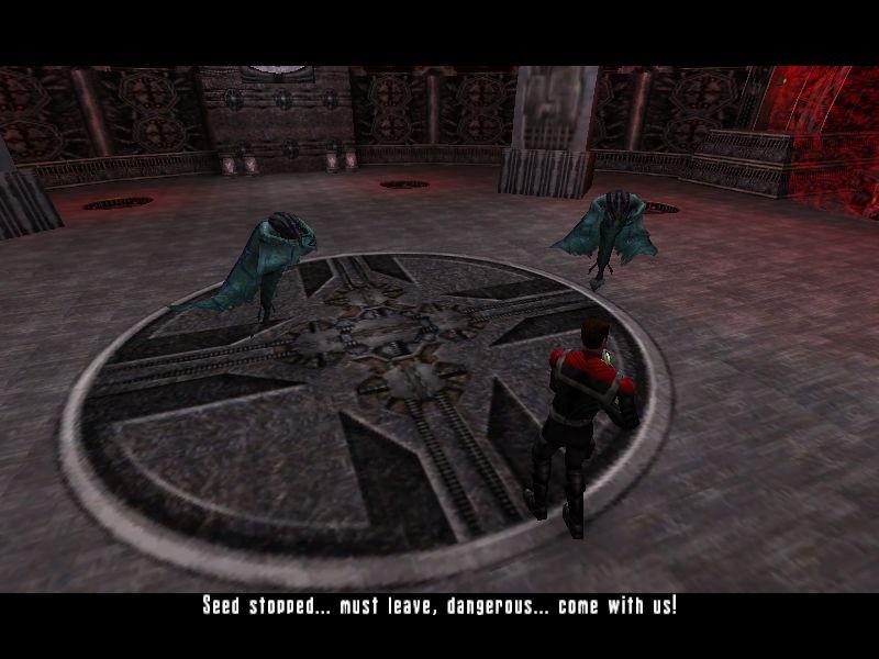 前に交渉をし、最後に味方となって援護に来てくれたエイリアン。彼らは逃げろというのだが、主人公はボスを倒すまで逃げないとさ。