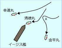 イージス艦と漁船の経路