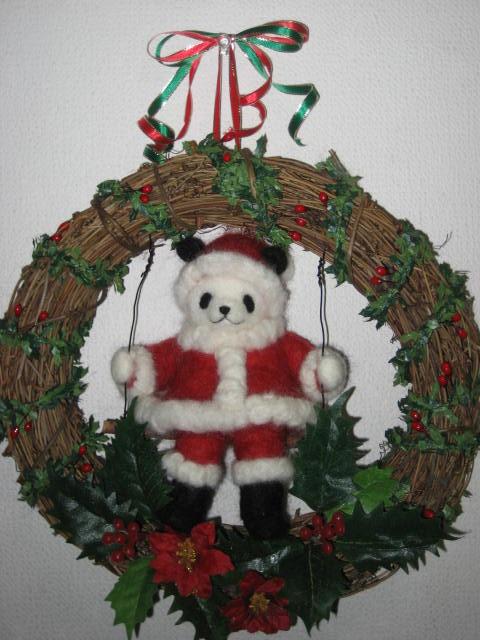 サンタクロースパンダのクリスマスリース2