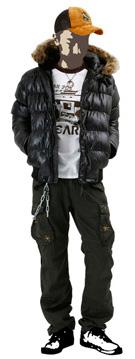 シャイニーポリフードファージャケットのオススメコーディネイト