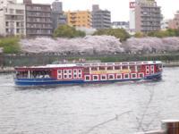 隅田川にすごい人が乗ってる船が・・・