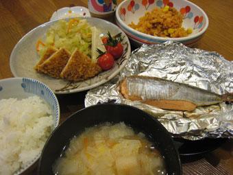 いわし明太 白菜と麩の味噌汁