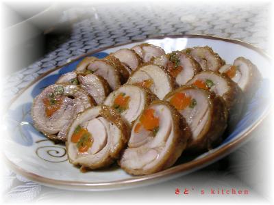 お正月くるくる鶏ロール甘辛煮