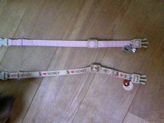きんちゃんのはピンクの水玉・つんちゃんのはベージュ