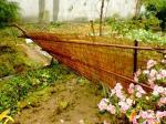 倒れた簾垣(庭側から)
